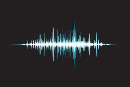 sonido: Las ondas de sonido a la luz de incandescencia. Fondo abstracto. ilustración vectorial