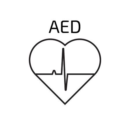 cardioverter: Defibrillator  linear icon Illustration