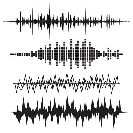 sonido: Sound Wave Icon Set. Iconos soundwave Música establecen. Igualar audio y sonido estéreo, onda, melodía. Ilustración del vector. Vectores