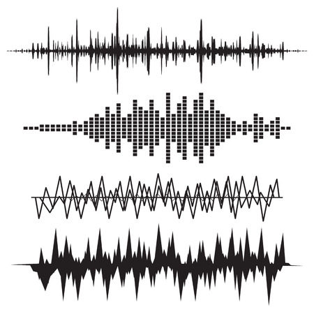Sound Wave Icon Set. Music soundwave icons set. Equalize audio and stereo sound, wave, melody. Vector illustration. 向量圖像