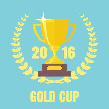 Champions Cup pictogram vector. Trophy icoon. Kop van de trofee flat vector icon