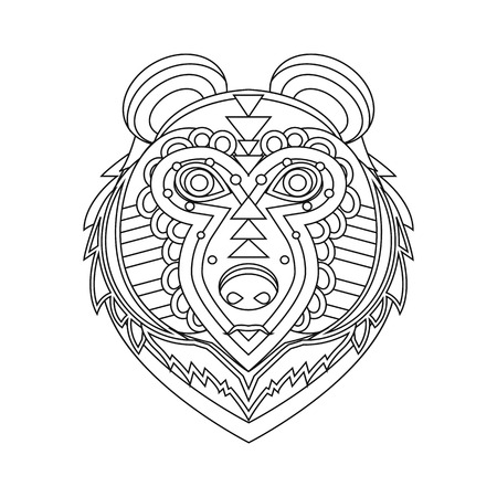 animal head: Geometrical flat style animal portrait made in vector. Head of bear.