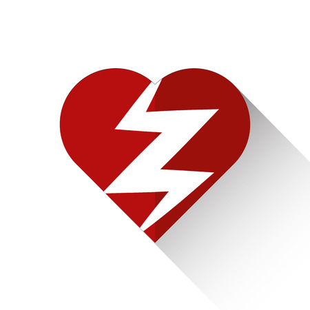 heart attack: Heart attack icon flat style with long shadow