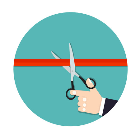 coming soon: Ribbon Cutting. Grand opening. Coming soon. Scissors cut the red ribbon