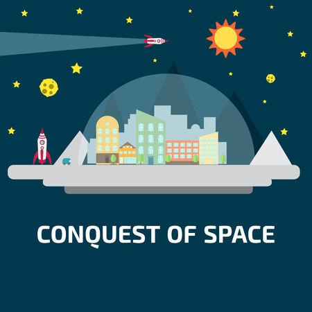 conquest: Conquest of space of the Moon. Future human colony. Space elements.