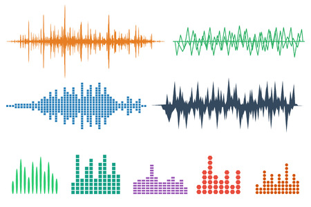 Sound Wave Icon Set. Music soundwave icons set. Equalize audio and stereo sound, wave, melody. Vector illustration. Stock Illustratie