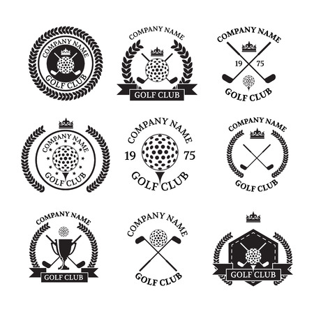 putter: Golf club logos set of templates.Vector logotype design.