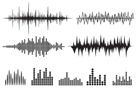 Sound Wave Icon Set. Music soundwave icons set. Equalize audio and stereo sound, wave, melody. Vector illustration. Vettoriali