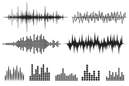 Sound Wave Icon Set. Music soundwave icons set. Equalize audio and stereo sound, wave, melody. Vector illustration. Illustration