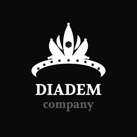 beauty pageant: Diadem vector silhouette icon. Diadem logo company.