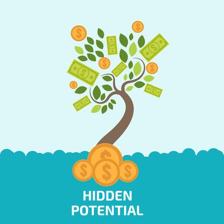 business model: Verborgen potentieel concept. Nieuw business model. Nieuwe business project opstarten. Money Tree vector.