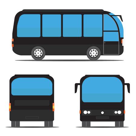 motor coach: Black bus rear, side, front