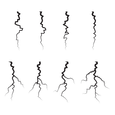 crack: Earth Crack vector set. Crack Silhouettes Isolated set.