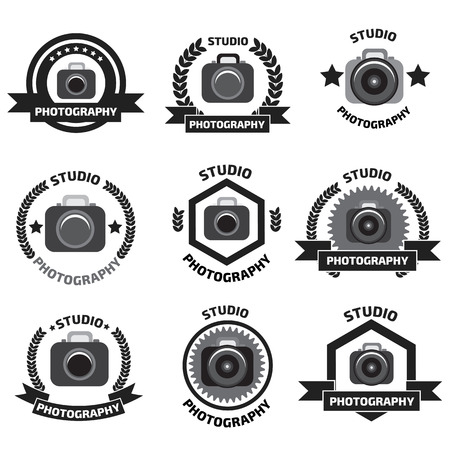 digital camera: Foto studio logo set. Foto studio emblem. Photo studio logo set.  Fotostudio emblem, logo Illustration