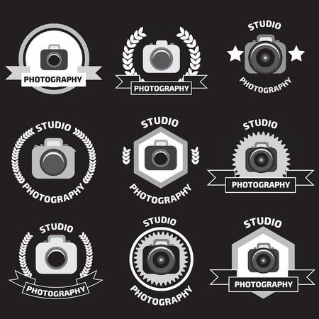 studio logo: Foto studio logo set. Foto studio emblem. Photo studio logo set.  Fotostudio emblem, logo Illustration