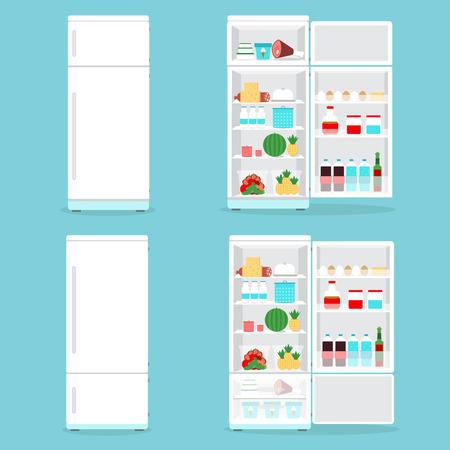 冷蔵庫は、食品で開かれます。冷蔵庫開閉が幕を閉じた食品セット