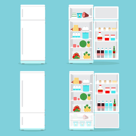 Refrigerator opened with food.Fridge Open and Closed with foods set Illustration