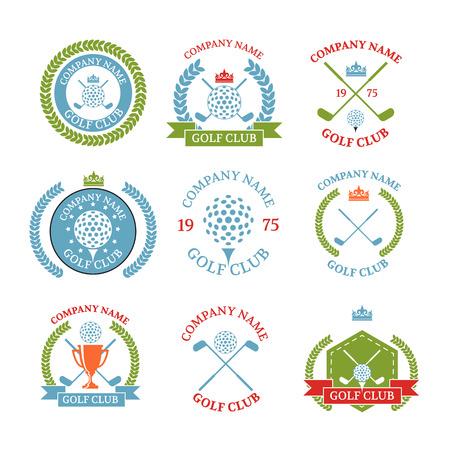sport club: Golf club logos set of templates.Vector logotype design. White Golf club logo color. Illustration