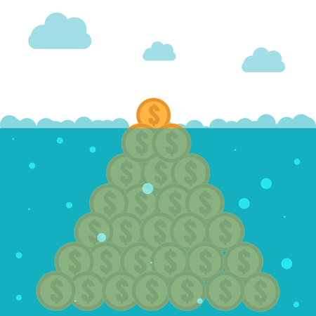 potential: Hidden potential concept. Iceberg of the coins Illustration