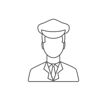 limousine: Limo driver linear icon.  Limousine driver icon. Flat style. Vector illustration Vectores