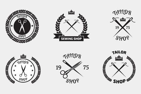 tailor shop: Set of tailor logo labels, emblems. Tailor shop theme. Tailor shop logo Illustration