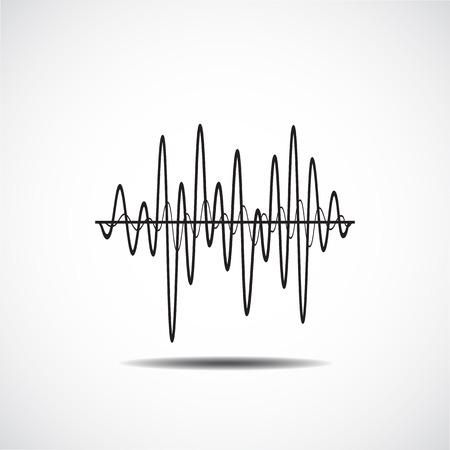 サウンド ウェーブのアイコン。サウンド ウェーブの音楽のアイコンを設定します。オーディオ、ステレオの音、波、メロディーを揃えます。ベクト  イラスト・ベクター素材