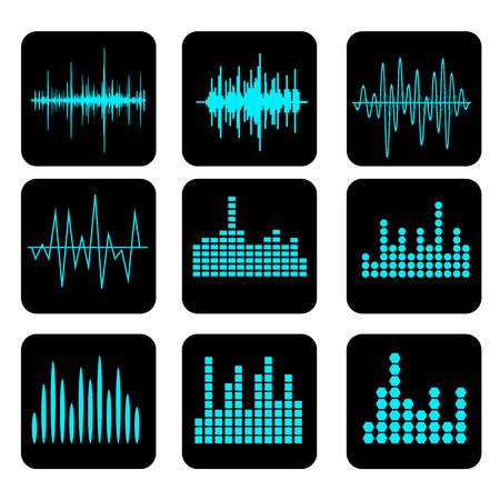Schallwelle Icon Set. Musik Soundwave-Icons gesetzt. Leichen Audio- und Stereo-Sound, Welle, Melodie. Vektor-Illustration.