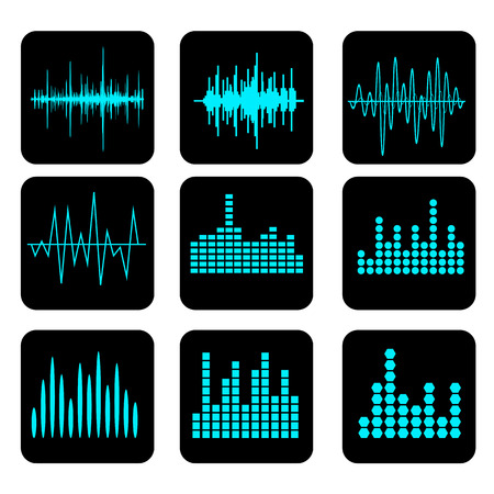 soundwave: Sound Wave Icon Set. Music soundwave icons set. Equalize audio and stereo sound, wave, melody. Vector illustration. Illustration