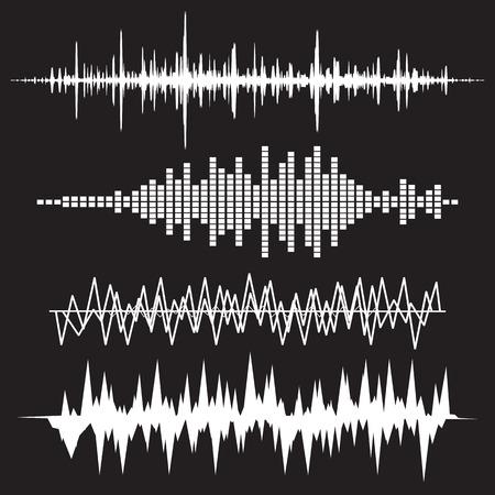 サウンド ウェーブのアイコンを設定します。サウンド ウェーブの音楽のアイコンを設定します。オーディオ、ステレオの音、波、メロディーを揃え