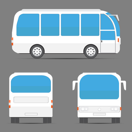 rear view: White bus rear, side, front