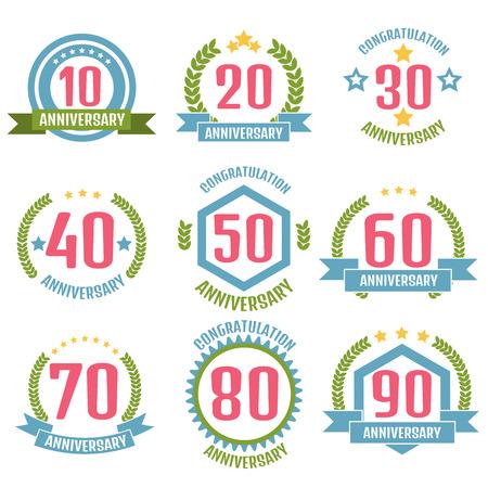 10 years anniversary: Anniversary banner, logo set.