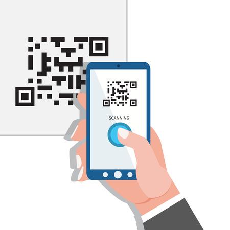 Capturez QR code. Téléphone dans les mains. Banque d'images - 43458880