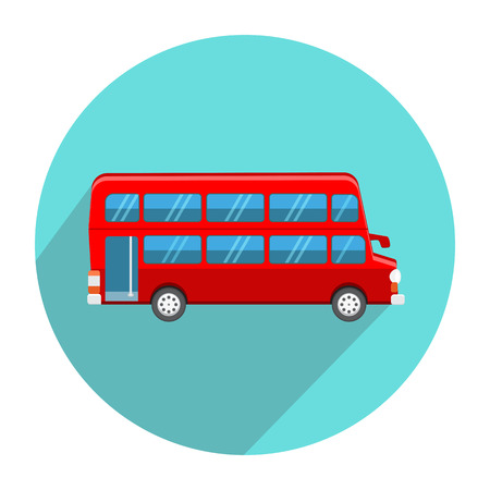 double decker bus: Double Decker Red Bus icon flat style Illustration