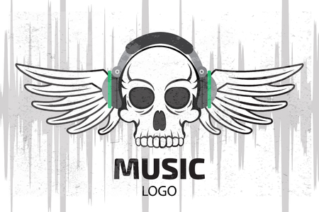 logo music: Music skull logo with wings Illustration