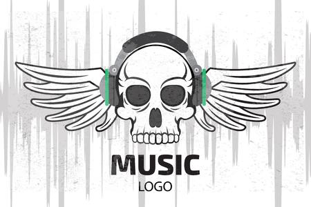 dubstep: Music skull logo with wings Illustration