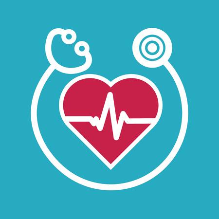 Kardiologie Symbol flachen Stil