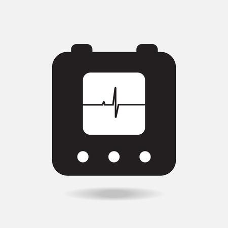 cardioverter: defibrillator icon silhouette