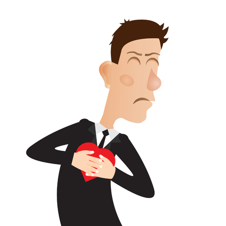 palpitation: Young man with strong heart attack. Vector illustration.