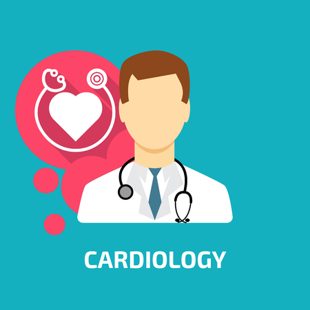 stethascope: cardiologist icon flat style Illustration