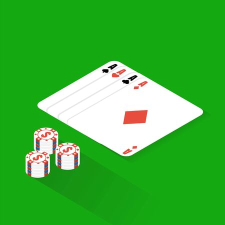 Flat poker table. Flat Poker table isometric Illustration