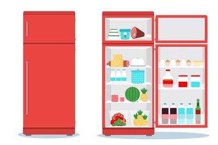 refrigerador: Frigorífico abrió con food.Fridge abierto y cerrado con los alimentos Vectores