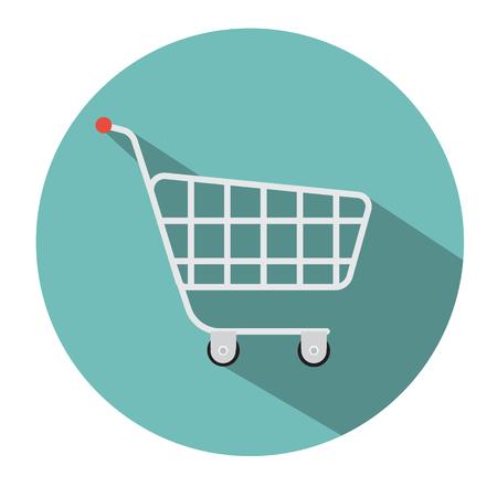 shopping cart isolated: Supermarket shopping cart icon