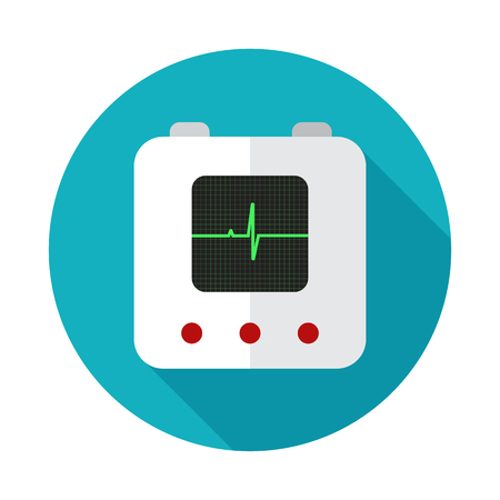 cardioverter: defibrillator icon flat style