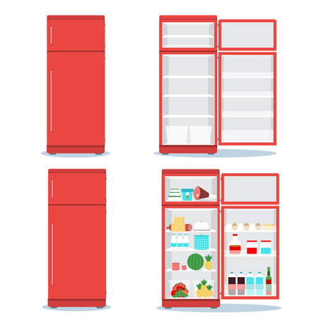 Refrigerator opened with food set. Fridge Open and Closed with foods. Refrigerator red