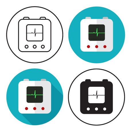 cardioverter: defibrillator icon set