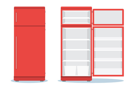 Refrigerator opened with food. Fridge Open and Closed with foods. Refrigerator red Ilustracja
