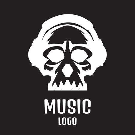 dubstep: Sound studio logo. Music Skull logo Illustration