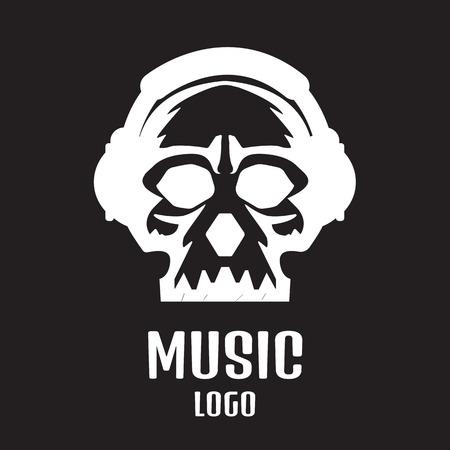 logo: Sound studio logo. Music Skull logo Çizim