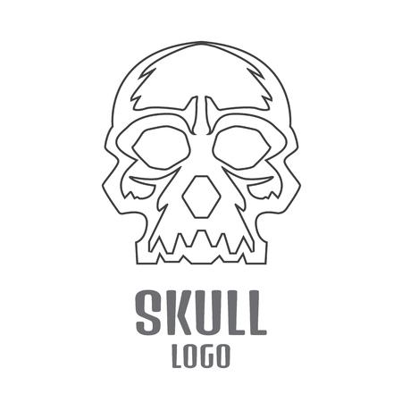 logo: Skull logo linear. Human skull logo Çizim