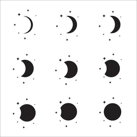 noche y luna: Luna conjunto fases silueta